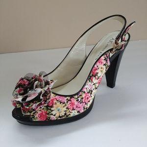 Anne Klein Ankle Strap Floral Flower Akeli Heels